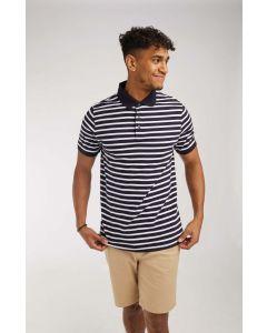 Striped jersey polo shirt