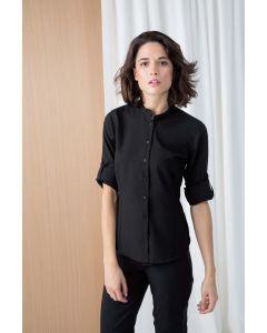 Ladies Mandarin Shirt with Roll-tan Sleeve